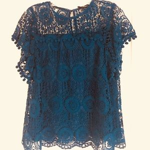 Tops - Teal blue Lace Top